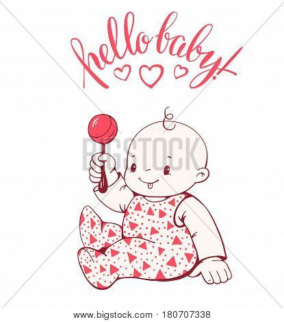Cute baby girl with the rattle isolated on white background. Hand-drawn illustration. Vector