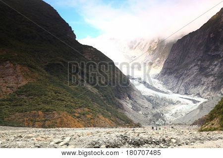 Franz Josef Glacier National Park of New Zealand Southern Alps mountains.
