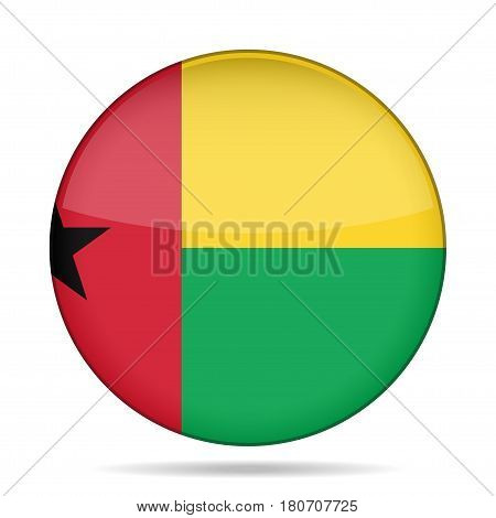 National flag of Guinea-Bissau. Shiny round button with shadow.