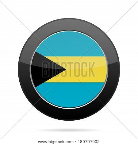 National flag of Bahamas. Shiny black round button with shadow.
