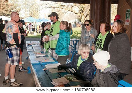 Spokane, WA - 2nd of April: Lions club members supporting the Spokane MS Walk a fund raiser for MS- editorial
