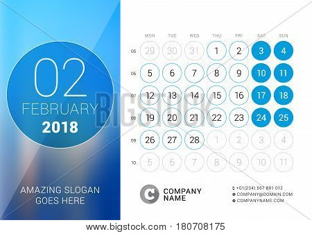 February 2018. Desk Calendar For 2018 Year. Vector Design Print Template With Place For Photo. Week