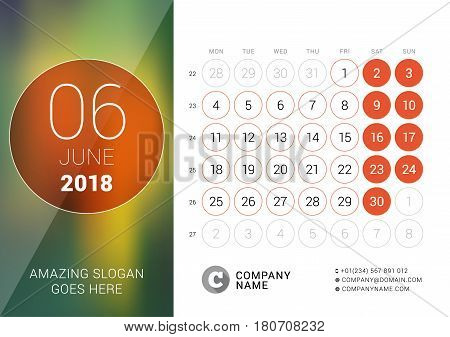 June 2018. Desk Calendar For 2018 Year. Vector Design Print Template With Place For Photo. Week Star