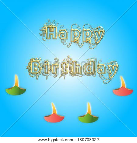 Happy birthday with lights  on blue background
