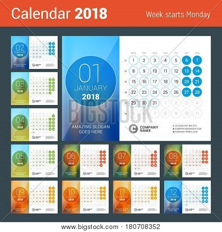 Desk Calendar for 2018 Year. Vector Design Print Template with Place for Photo. Week Starts on Monday. Calendar Grid with Week Numbers