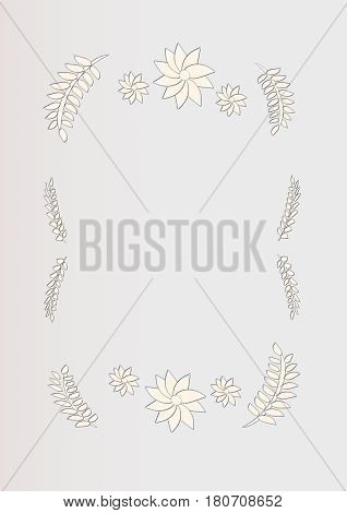 WHite cutout flowers and leaves on off white background
