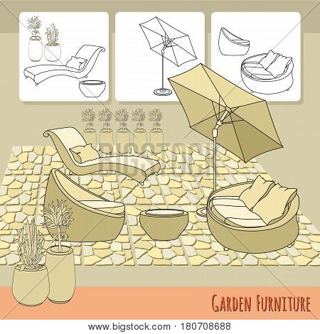 Vector illustration of hand drawn lounge chairs, umbrella, paving and flowers in pot. Garden accessory on beige  background. Landscape design. Summer backyard with outdoor furniture. Rest area.