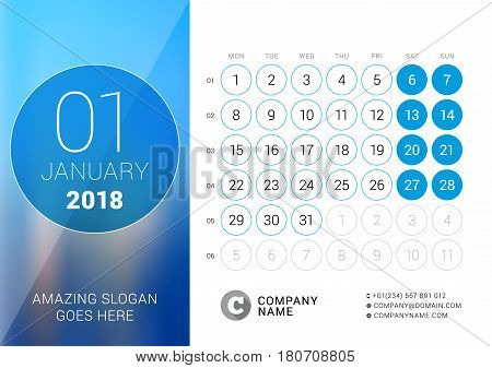 January 2018. Desk Calendar For 2018 Year. Vector Design Print Template With Place For Photo. Week S