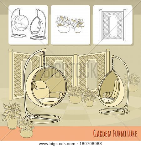 Vector illustration of hand drawn swings, fence and flowers in pot. Garden accessory on beige  background. Landscape design. Summer backyard with outdoor furniture. Rest area.
