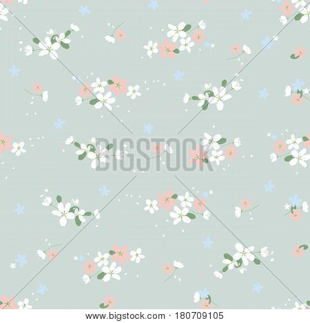 Seamless pattern with small flowers on a gray background. Spring light airy texture for interior, tiles, textiles, scrapbooking, packaging and various types of design. vector.