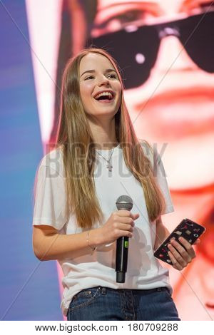 Moscow, Russia - April 7, 2017: Famous Russian blogger and vlogger Sasha Spilberg on the stage