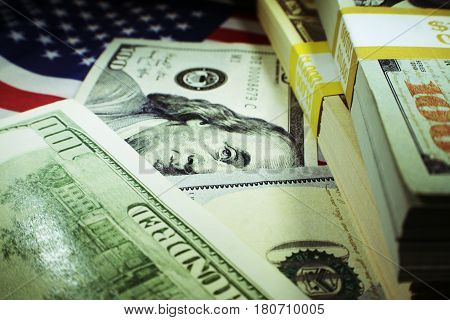Money Close Up With American Flag High Quality