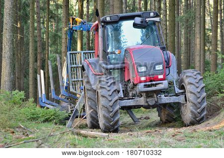tractor adapted to work in the woods south Bohemia Czech Republic
