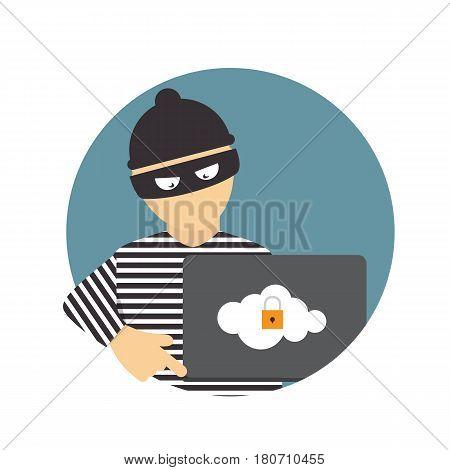 Criminal Hacker, Concept of Fraud, Cyber Crime. Vector Illustration EPS10