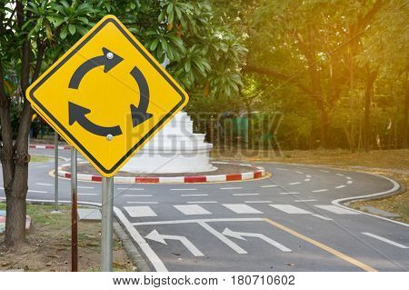 Traffic Roundabout Sign road and signs. zone