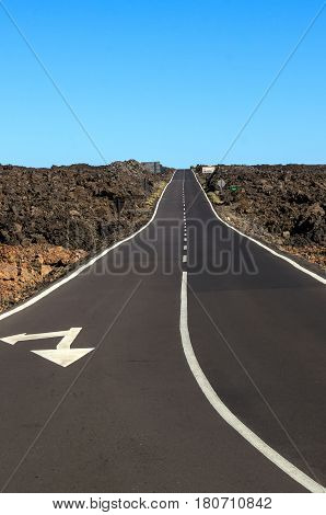 Road through rocky desert in the Teide national park Tenerife Canary islands Spain. No people