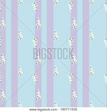Seamless pattern with white flowers and vertical stripes on a blue background. Spring light airy texture. vector.
