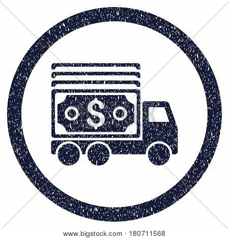 Cash Lorry grainy textured icon inside circle for overlay watermark stamps. Flat symbol with unclean texture. Circled vector indigo blue rubber seal stamp with grunge design.