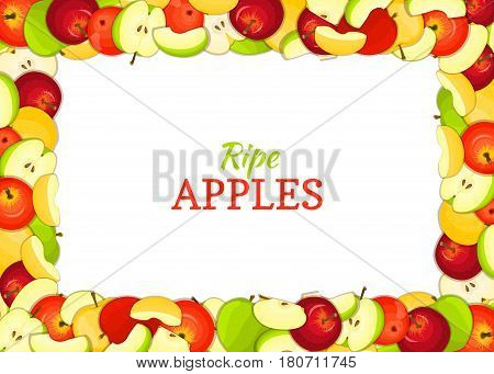 Horizontal rectangle colored frame composed of delicious apples fruit. Vector card illustration. Rectangle apple frame Ripe fresh apples fruits for packaging design of juice breakfast food
