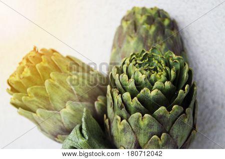 fresh raw vegetables artichoks tasty food healthy ingredients