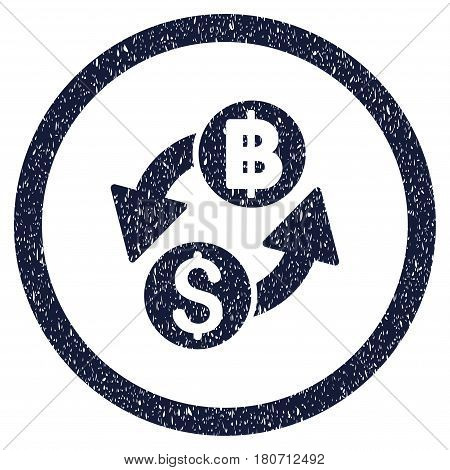 Dollar Baht Exchange grainy textured icon inside circle for overlay watermark stamps. Flat symbol with unclean texture. Circled vector indigo blue rubber seal stamp with grunge design.