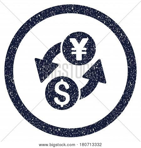 Dollar Yen Exchange grainy textured icon inside circle for overlay watermark stamps. Flat symbol with dirty texture. Circled vector indigo blue rubber seal stamp with grunge design.
