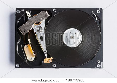 Hard drive disk open on white background