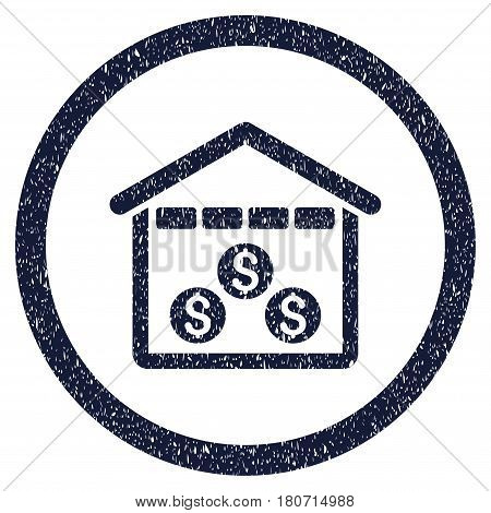 Money Depository grainy textured icon inside circle for overlay watermark stamps. Flat symbol with scratched texture. Circled vector indigo blue rubber seal stamp with grunge design.