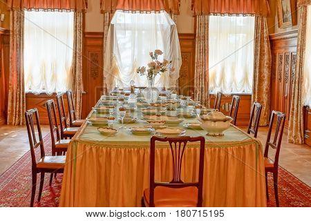 YALTA MASSANDRA CRIMEA RUSSIA - may 29.2014: Dining in Massandra Palace of Russian Emperor Alexander III
