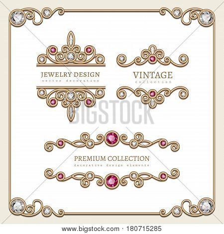 Vintage gold jewelry vignettes and flourishes in square frame, banners, set of decorative jewellery design elements with diamond and ruby gems, antique embellishment on white