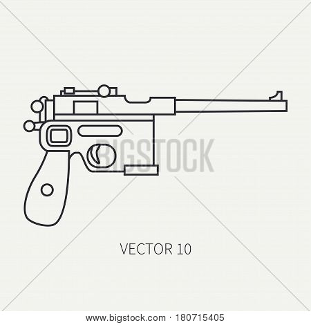 Line flat plain vector military icon handgun, pistol. Army equipment and armament. Legendary retro weapon. Cartoon style. Assault. Soldier. Slug. War. Illustration and element for design and wallpaper