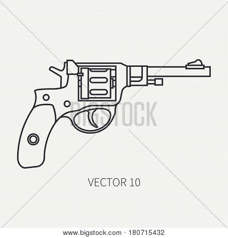 Line flat plain vector military icon - revolver, pistol. Army equipment and armament. Legendary retro weapon. Cartoon style. Assault. Soldier. Slug. Illustration and element for design and wallpaper.