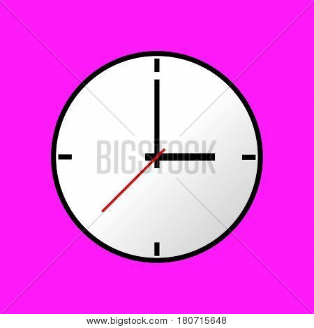 Clock icon, Vector illustration, flat design. Easy to use and edit. EPS10. Pink background