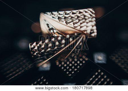 Golden Cuff Links On Tie. Luxury Cufflinks Close Up, Groom Set. Wedding Preparation In Morning. Spac