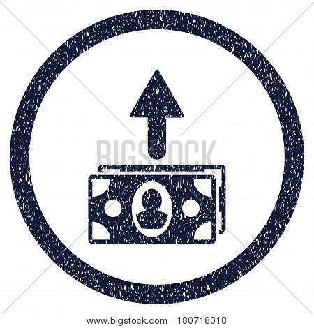 Spend Banknotes grainy textured icon inside circle for overlay watermark stamps. Flat symbol with dust texture. Circled vector indigo blue rubber seal stamp with grunge design.
