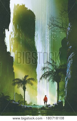scenery of a man looking at the magnificent waterfall in rock cave with beautiful sun light, illustration painting