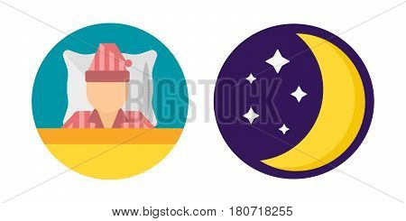 Sleep time pajamas moon set icon flat isolated vector illustration. Sleep icon sweat dream pyjamas. Night rest human sleepwear icon