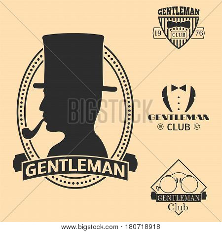 Vintage style design hipster gentleman logo vector illustration badge antique graphic design mustache element. Premium quality man shop stamp classic black silhouette fashion moustache barber sign.