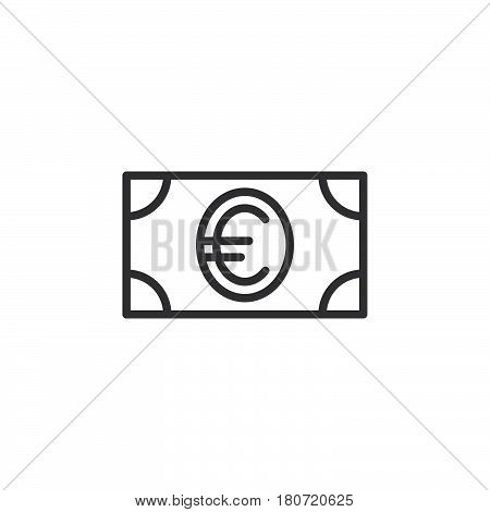 Money euro banknote line icon outline vector sign linear style pictogram isolated on white. Symbol logo illustration. Editable stroke. Pixel perfect