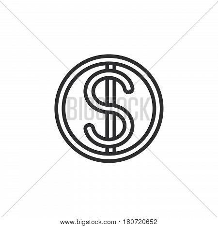 Dollar coin line icon outline vector sign linear style pictogram isolated on white. Symbol logo illustration. Editable stroke. Pixel perfect