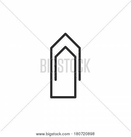 Paperclip line icon outline vector sign linear style pictogram isolated on white. Attach symbol logo illustration. Editable stroke. Pixel perfect