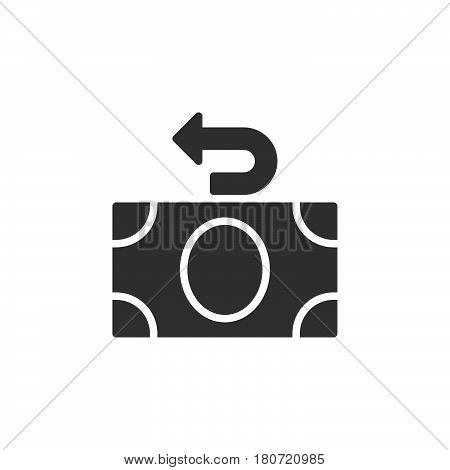 Money refund icon vector filled flat sign solid pictogram isolated on white. Cashback symbol logo illustration. Pixel perfect