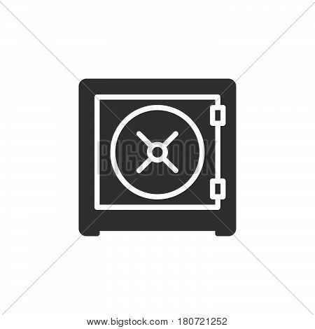 Safe strongbox icon vector filled flat sign solid pictogram isolated on white. Symbol logo illustration. Pixel perfect
