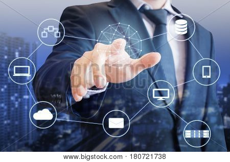 Double Exposure Of Professional Businessman Touch On Screen Connected Devices With World Digital Tec