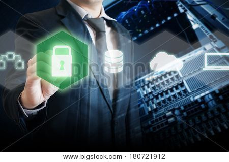 Double Exposure Of It Manager Touch Security On Digital Screen To Prevent System And Devices From Vi