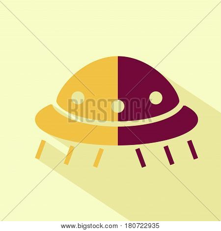 Vector flat ufo icon. Isolated colored icon for logo web site design app UI. Flat sci-fi illustration for posters cards book cover flyers banner web game designs.