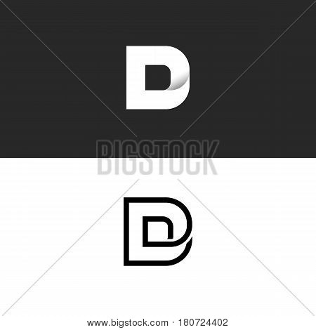 D Letter Logo Monogram, Typography Design Element Mockup, Combination Linear And Gradient Style Logo
