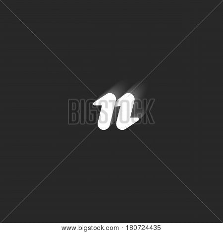 Initial Lowercase N Letter Logo Mockup, Modern Black And White Minimal Style Emblem For Business Car