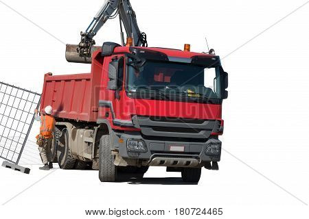 RED dump truck with excavator isolated over white background.