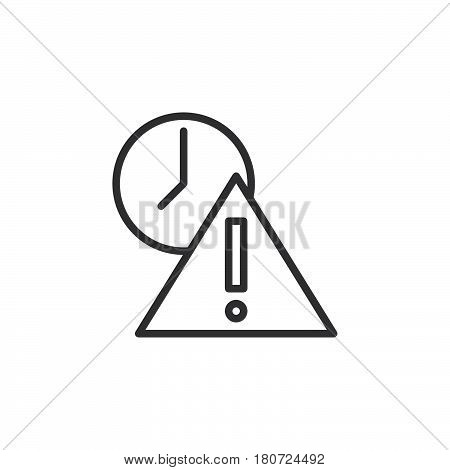 Exclamation point and clock line icon outline vector sign linear style pictogram isolated on white. Expired symbol logo illustration. Editable stroke. Pixel perfect